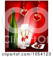 Royalty Free Vector Clip Art Illustration Of Champagne With Hearts On Red by vectorace