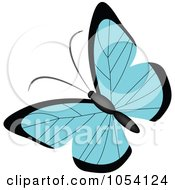 Royalty Free Vector Clip Art Illustration Of A Blue And Black Butterfly by vectorace