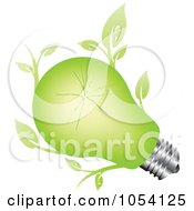 Royalty Free Vector Clip Art Illustration Of A Green Light Bulb With Leaves by vectorace