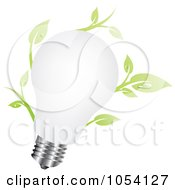Royalty Free Vector Clip Art Illustration Of A White Light Bulb With Leaves by vectorace