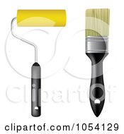 Royalty Free Vector Clip Art Illustration Of A Digital Collage Of A Regular Paint Brush And A Roller Brush