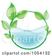 Royalty Free Vector Clip Art Illustration Of A Dewy Circle Of Leaves Half Filled With Water