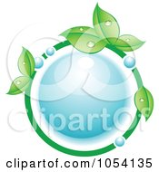 Royalty Free Vector Clip Art Illustration Of A Dewy Circle Of Leaves And Bubbles Around A Water Bubble