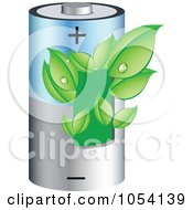 Royalty Free Vector Clip Art Illustration Of Dewy Green Leaves Growing On A Battery by vectorace