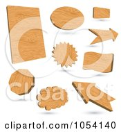 Royalty Free Vector Clip Art Illustration Of A Digital Collage Of 3d Wood Signs