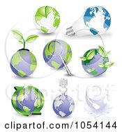 Royalty Free Vector Clip Art Illustration Of A Digital Collage Of Globes And Leaves