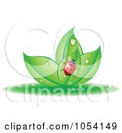 Royalty Free Vector Clip Art Illustration Of A Ladybug On Dewy Leaves