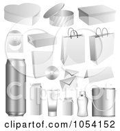 Royalty Free Vector Clip Art Illustration Of A Digital Collage Of 3d Packaging Items