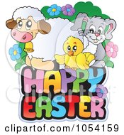 Royalty Free Vector Clip Art Illustration Of Spring Animals On A Happy Easter Greeting