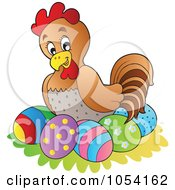Royalty Free Vector Clip Art Illustration Of A Hen Nesting On Easter Eggs by visekart