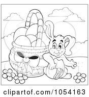 Royalty Free Vector Clip Art Illustration Of A Coloring Page Outline Of A Bunny Leaning Against An Easter Basket