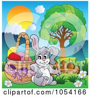 Royalty Free Vector Clip Art Illustration Of A Bunny Leaning Against An Easter Basket In A Landscape