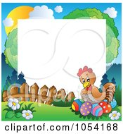 Royalty Free Vector Clip Art Illustration Of A Frame Of A Hen Nesting On Easter Eggs by visekart