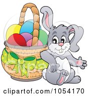 Royalty Free Vector Clip Art Illustration Of A Bunny Leaning Against An Easter Basket