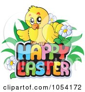 Royalty Free Vector Clip Art Illustration Of A Chick On A Happy Easter Greeting