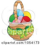 Royalty Free Vector Clip Art Illustration Of A Green Bow On A Basket Of Easter Eggs