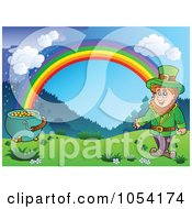 Royalty Free Vector Clip Art Illustration Of A Background Of A Leprechaun And Pot Of Gold Under A Rainbow by visekart