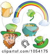 Royalty Free Vector Clip Art Illustration Of A Digital Collage Of St Patricks Day Icons by visekart