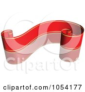 Royalty Free Vector Clip Art Illustration Of A Red And Gold Ribbon Banner With A Reflection 1