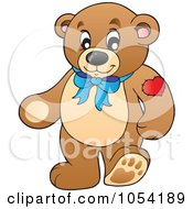 Royalty Free Vector Clip Art Illustration Of A Teddy Bear With A Heart Tattoo