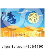 Royalty Free Vector Clip Art Illustration Of A Desert Landscape At Night by visekart