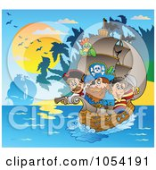 Royalty Free Vector Clip Art Illustration Of A Pirate Ship Near An Island At Sunset