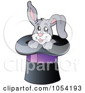 Royalty Free Vector Clip Art Illustration Of A Gray Rabbit In A Magic Hat
