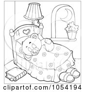 Royalty Free Vector Clip Art Illustration Of An Outline Of A Sleeping Teddy Bear