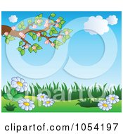 Royalty Free Vector Clip Art Illustration Of A Spring Background With Blossoms And Flowers