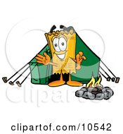 Yellow Admission Ticket Mascot Cartoon Character Camping With A Tent And Fire