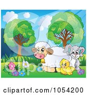 Royalty Free Vector Clip Art Illustration Of Spring Animals In A Landscape