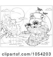 Royalty Free Vector Clip Art Illustration Of An Outline Of Pirates In A Ship