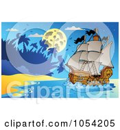 Royalty Free Vector Clip Art Illustration Of A Pirate Ship At Night 3