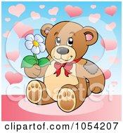 Royalty Free Vector Clip Art Illustration Of A Teddy Bear Holding A Flower