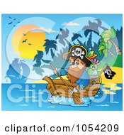 Royalty Free Vector Clip Art Illustration Of A Pirate Paddling A Boat 2