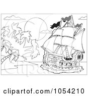 Royalty Free Vector Clip Art Illustration Of An Outline Of A Pirate Ship