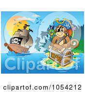 Royalty Free Vector Clip Art Illustration Of A Pirate Monkey On An Island