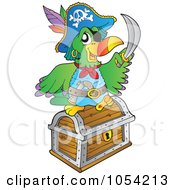 Royalty Free Vector Clip Art Illustration Of A Pirate Parrot With Treasure