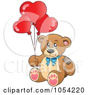 Royalty Free Vector Clip Art Illustration Of A Teddy Bear With Heart Balloons