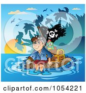 Royalty Free Vector Clip Art Illustration Of A Pirate With Treasure On A Raft