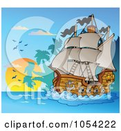Royalty Free Vector Clip Art Illustration Of A Pirate Ship At Night 5
