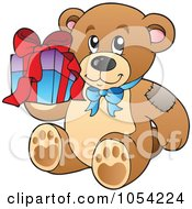 Royalty Free Vector Clip Art Illustration Of A Birthday Teddy Bear Holding A Present by visekart