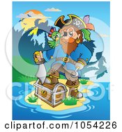 Royalty Free Vector Clip Art Illustration Of A Pirate With Treasure On An Island