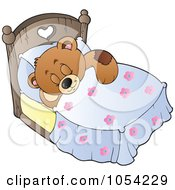 Royalty Free Vector Clip Art Illustration Of A Sleeping Teddy Bear by visekart