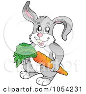 Royalty Free Vector Clip Art Illustration Of A Gray Rabbit Holdinng A Carrot by visekart
