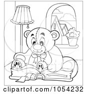 Royalty Free Vector Clip Art Illustration Of An Outline Of A Reading Teddy Bear by visekart