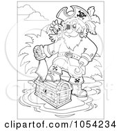 Royalty Free Vector Clip Art Illustration Of An Outline Of A Pirate Stepping On A Treasure Chest