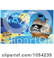 Royalty Free Vector Clip Art Illustration Of A Pirate Ship At Night 1