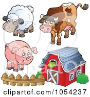 Royalty Free Vector Clip Art Illustration Of A Digital Collage Of Farm Animals And A Barn