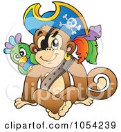Royalty Free Vector Clip Art Illustration Of A Pirate Monkey